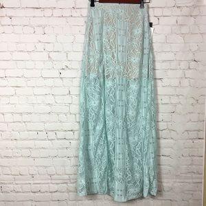 NWT Lulu's Vivid Details Mint Blue Long Maxi Skirt